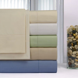 """Pointehaven - 600 Thread Count Supima Cotton Sheet Set - Features: -Set includes one flat sheet, one fitted sheet and two pillowcases. -Material: 100% Supima cotton ( made of single ply yarns). -Fitted sheet fits up to a 20"""" mattress with elastic all around. -4"""" Triple tuck hem flat sheets and pillowcase."""