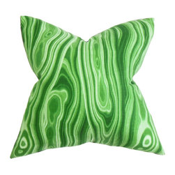 "The Pillow Collection - Zoia Geometric Pillow Green - Add an instant dose of style to your living space with this artsy decor piece. The swirling design featured in this square pillow lends texture and pop of color to your living room or bedroom. This decor pillow seamlessly blends with your home accessories. Mix and match this 18"" pillow with solids and patterns for an unconventional decor style. Hidden zipper closure for easy cover removal.  Knife edge finish on all four sides.  Reversible pillow with the same fabric on the back side.  Spot cleaning suggested."