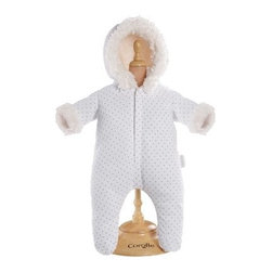 Corolle Mon Classiques Bebe 17 in. White Snowsuit Doll Ensemble - She'll be cute as a bug in a rug dressed in her Corolle Mon Classiques Bebe 17 in. White Snowsuit Doll Ensemble. This winter onesie is adorable and designed to fit a 17-inch doll. It's beautifully sewn and expertly finished. The ensemble includes a white polka dot snowsuit with snow white faux fur trim. It features Velcro closures for easy on and off.About CorolleCorolle is a premier doll brand designed in the storybook region of France's Loire Valley. Since 1979, Corolle has been creating highly detailed dolls designed to be cherished by children everywhere. Every Corolle doll will inspire magical childhood memories that will last for a lifetime. Corolle dolls look and feel as real as possible. They're created of soft, supple vinyl, have natural-looking hair, and wear on-trend fashions. Corolle dolls are designed durable enough to withstand years of hugs and love. Perfect heirloom treasures! Doll play encourages children to explore different roles from caring for and sharing hopes and dreams to finding an understanding playmate and friend for life. Corolle designs dolls for children of all ages.There is a range of Corolle dolls designed for specific ages. Babi Corolle is a soft-body doll perfect for newborn babies and older. It's machine-washable, feather-light, and made to be loved. Mon Premier Corolle is designed for babies 18 months and older. This line includes a range of baby dolls, clothing, and accessories. The dolls are lightweight and soft. The clothing has Velcro closures so it's easy to put on and take off. Mon Classique Corolle is a classic baby doll designed for toddlers to love and nurture. This line has a complete assortment of larger baby dolls, clothing, and nursery accessories. Some even have hair that can be brushed and styled. Others coo, giggle, drink, and go potty. Mademoiselle Corolle is a toddler doll for toddlers. These dolls have expressive faces, silky long hair, and are dressed in the latest styles. This doll will be your little one's best friend. She's perfect for sharing secrets and working out new hairstyles and fashion. Les Cheries Corolle is designed for little ones four years and older. She has long, lush, rooted hair and an amazing wardrobe of stylish outfits. This doll provides endless hours of fashion and hair play.