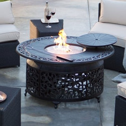 Palazetto San Miguel Cast Aluminum 48 in. Round Gas Fire Pit Chat Table - Perfect for pairing with your outdoor deep seating collection, the Alfresco Home San Miguel Cast Aluminum 48 in.Round Gas Fire Pit Table makes a great centerpiece for enjoying a night outside. Constructed from rustproof polished cast aluminum, this gas-powered fire pit features a durable powder-coat finish, with an exquisite pattern adorning the exterior. Round glass beads provide additional accents to mesmerize you while enjoying the fire. Weight: 79.2 pounds. Dimensions: 48 diam. x 22H inches. About PalazettoBlending the lines between interior and exterior decor, Palazetto furnishings are designed to bring the indoors out. Palazetto believes alfresco living should be enjoyed by all, and they center this belief on beautiful cast aluminum and wrought iron pieces and stunning outdoor mosaics designed to warm your patio and soothe your senses. The Palazetto collection is available at almost half the price you'd pay for something similar in a retail store, so you may be surprised to learn that all mosaic table tiles are hand-set. They're then grouted with industrial adhesives for maximum durability, and sealed with an industrial-grade sealant called Fluorocarbon for superior protection. And quality mosaic table tops aren't the only thing they can boast about. Each piece in the Palazetto aluminum and wrought iron collections feature the highest quality construction from rust-proof materials, to fully welded joints, to weather-resistant powder-coat finishes. You'll be enjoying these sets for years as they can withstand extended outdoor exposure in any climate, in any season. Please note this product does not ship to Pennsylvania.