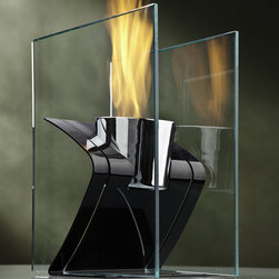 """Decorpro - Zed Bio Ethanol Fireplace - Zed fire burner is the perfect companion when you only have a small amount of space. This unit is designed to make a statement but give you more table space. With its unique styling and chrome fuel cell the two panes of glass act as a mirror to reflect the dancing flame. Features: -Used in conjunction with an ethanol gel fuel can (Sold Separately).-Tempered glass.-Suitable for indoor / outdoor.-Includes a snuffer for opening and extinguishing ethanol fuel canisters.-Steel construction.-Black finish.-Gunmetal grey apoxy powdered automotive paint color.-Collection: Table top Fireburner / Firepot.-Distressed: No.-Gloss Finish: No.-Material: Steel/Glass.-Hardware Material: Steel.-Fireplace Insert Only: No.-Freestanding Fireplace: Yes.-Wall Mounted Fireplace: No.-Tabletop Fireplace: Yes.-TV Stand Fireplace: No.-Plug In: No.-Number of Burners: 1.-Fuel Capacity: 12oz can.-Burn Time of Fuel Accommodated: Will burn 2.5-3.5 hours with the Organica or Sunjel Fuel Canister.-Adjustable Temperature: No.-Adjustable Flame: No.-Flickering Flame Effect: No.-Flame Operational Without Heat: No.-Thermal Overload Protection: No.-Safety Shut Off: No.-Air Filter: No.-Built In Fan: No.-Mantel: No.-Remote Control: No.-Timer Function: No.-Swatch Available: No.-Commercial Use: Yes.-Eco-Friendly: No.-Country of Manufacture: Canada.Specifications: -ISTA 3A Certified: No.-CSA Certified: No.-Carb 2 Certified: No.-TUV Certified: No.-KTL Certified: No.-ETL Certified: No.-CETL Certified: No.-UL Certified: No.-CUS Certified: No.Dimensions: -Overall Height - Top to Bottom: 14"""".-Overall Width - Side to Side: 8"""".-Overall Depth - Front to Back: 8.625"""".-Overall Product Weight: 10.3 lbs.Assembly: -Assembly Required: Yes.-Additional Parts Required: No.Warranty: -Manufacturer provides one year warranty against manufacturing defects."""