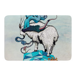 "KESS InHouse - Mat Miller ""Seeking New Heights"" Blue Goat Memory Foam Bath Mat (24"" x 36"") - These super absorbent bath mats will add comfort and style to your bathroom. These memory foam mats will feel like you are in a spa every time you step out of the shower. Available in two sizes, 17"" x 24"" and 24"" x 36"", with a .5"" thickness and non skid backing, these will fit every style of bathroom. Add comfort like never before in front of your vanity, sink, bathtub, shower or even laundry room. Machine wash cold, gentle cycle, tumble dry low or lay flat to dry. Printed on single side."