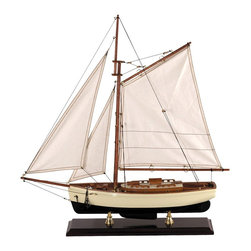 Authentic Models - Small 1930s Classic Model Yacht - Clean and crisp sails, bronze portholes and lots of nice details. Made of Wood, Cotton, and Brass. Dark Green, Ivory, and Gold Finish. Assembly Instructions. 21.5 in. W x 5 in. D x 23.5 in. HA sailor's dream, attractive and well proportioned a beauty. This classic 1930s yacht model sits on a beautifully molded antique finished stand, supported by two brass feet.