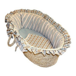 Hoohobbers Moses Basket - Spa Blue - Yes bright playfully printed baby things have their place in your little one's room. But when it comes to nap time softness is key - and it's the central principle of the Hoohobbers Moses Basket - Spa Blue. Crafted with durable woven material and sturdy side handles this portable Moses basket is lined with super-soft long-lasting bedding in 100% cotton flannel - a bumper sheet plus cushion and double-sided blanket are included all in stripe and check prints in shades of light blue turquoise brown and white. Both the basket and bedding is machine washable for easy care. Simply remove the formed bumper insert to ensure it holds its shape gently wash and dry the cover with the other pieces and slip the insert back inside the freshly laundered cover. Suggested use for newborns.About HoohobbersBased in Chicago Hoohobbers has designed and manufactured its own line of products since 1981 beginning with the now-classic junior director's chair. Hoohobbers makes both hard goods (furniture) and soft goods. Hoohobbers' hard goods are not your typical furniture products; they fold are lightweight and portable and are made to be carried by children all around the house. Even outdoors Hoohobbers' hard goods are 100 percent water-safe. At the same time they are plenty durable and can take the abuse children often give. Hoohobbers' soft goods are fabric items ranging from bibs to bedding from art smocks to Moses baskets.Hoohobbers' products are recognized by independent third parties for their quality and performance. Hoohobbers has received Best Design Awards from America's Juvenile Products Association each time selected from more than 20 000 products. Hoohobbers has also received the Parents' Choice Award and no Hoohobbers product has ever been subject to consumer recall. Furthermore the company's products are often featured in leading women's and children's publications.