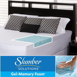 Slumber Solutions - Slumber Solutions Gel 3-inch Memory Foam Mattress Topper with Cover - This gel Slumber Solutions memory foam topper is a great way to improve the comfort of your mattress. The topper is able to provide a nice, cool sleep experience. The gel and foam topper measures 3 thick and fits twin and full mattresses.