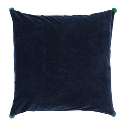 "Surya - Square Cotton Velvet Pillow VP-004 - 22"" x 22"" - Both fun and functional, this is the perfect pillow to update your home's decor. Featuring a solid navy backdrop paired harmoniously with intricate green pom poms added to each corner, this pillow is a classic solution to renovating any space. This pillow contains a zipper closure and provides a reliable and affordable solution to updating your home's decor."