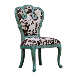 "Uttermost - Chahna Velvet Accent Chair - Aqua blue finish on solid, plantation grown mango wood with cushioned seat in plush, dark chocolate and milky white velvet. Seat height is 19""."