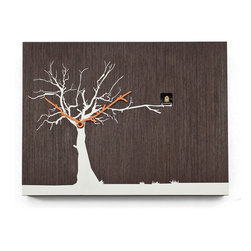Progetti - CuCuRuKu 1767 Natural Wenge/White Tree Wall Clock - Cuckoo clock made in wood. Battery quartz movement. The Cuckoo strike is switched off automatically during the night controlled by a light sensor.