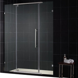 DreamLine - DreamLine SHDR-21587610-04 Vitreo 58 1/8in Frameless Pivot Shower Door, Clear 3/ - The Vitreo shower door showcases a completely frameless design for the luxurious look of custom glass at an incredible value. The elegant pivot mechanism provides a flawless operation, while premium 3/8 in. thick tempered glass delivers a rich look. Give your bathroom renovation a style infusion with the effortlessly fluid look of a Vitreo frameless shower door. 58 1/8 in. W x 76 in. H ,  3/8 (10 mm) thick clear tempered glass,  Chrome or Brushed Nickel hardware finish,  Frameless glass design,  Out-of-plumb installation adjustability: No,  Pivot shower door with full length magnetic door latch ,  wall mount brackets for stationary glass panels,  Precise width measurement of finished opening required,  Designed to be installed against finished walls,  Door opening: 23 3/8 in.,  Stationary panel: Two 15 3/8 in. panels
