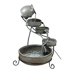 Slate Gray Cascade Solar Fountain