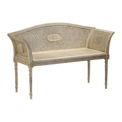 """Inviting Home - Antique White English Style Bench - English style beechwood bench with cane back arms and seat hand-carved accents and antiqued white finish; 44-3/4""""W x 16""""D x 29-1/2""""H hand-crafted in Italy English style beech wood bench with cane back arms and seat. Bench has a hand carved accents antique white finish. This bench is hand-crafted in Italy."""