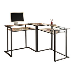 Walker Edison - Walker Edison C-frame Glass and Metal L-Shaped Computer Desk in Black - Walker Edison - Home Office Desks - D56C33CB - This contemporary corner computer desk is the perfect addition to any home office or study. Features elevated built-in shelves that provide optimal work space and satisfies space-savings needs. The thick tempered safety glass and textured black powder-coated steel together create a solid construction with a look that is both attractive and simple.