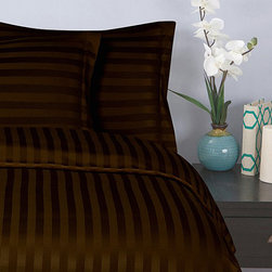 Elegance Linen - Chocolate Brown Damask Stripe Duvet Set - Make the bed with this soft microfiber set. Each sleek, striped piece resists fading and wrinkling.   Includes duvet cover and two pillowcases (twin sizes include one pillowcase) 100% polyester Machine wash Imported