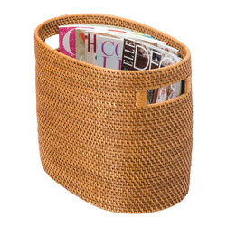 "Baskets & Organizers - Sleek, simple but elegant magazine basket hand-woven from rattan. 14.5""L x 8.75""W x 12""H."