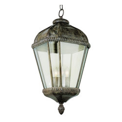 Trans Globe Lighting - Trans Globe Lighting 3-Light Traditional Outdoor Hanging Light X-TRB 5515 - A classic lantern shape has been complimented by a unique Burnished Rust finish that gives a subtle aged look to this Trans Globe Lighting outdoor hanging light. It also features three candelabra style lights and clear beveled glass panels that pull the look together.