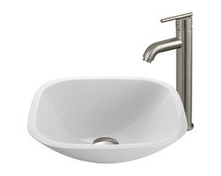 Vigo Industries - Square shaped Phoenix Stone Glass Vessel Sink - The VIGO Square Shaped White Phoenix Stone Glass Vessel Sink with a Modern Brushed Nickel Faucet brings a contemporary look to your home. The VG07040 square shaped white vessel bowl with sleek flat edge combines the durability and natural aesthetics of granite, marble, ceramic and glass. Water pressure tested for industry standard. This VIGO vessel bowl and faucet set is cUPC and NSF-61 certified by IAPMO.