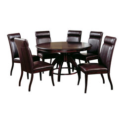 Hillsdale Furniture - Hillsdale Nottingham 5 Piece Dining Room Set - Urban and sophisticated, the tapered, clean lines of the Nottingham dining collection create an effect that is fresh, modern and timeless. Available in two heights, a traditional dining height and the newest trend, counter height, the Nottingham offers both a side chair or stool and curved benches (banquettes), which fit effortlessly around the round table tops. Constructed of hardwoods and climate controlled wood composites, this collection is finished in a deep rich espresso with a versatile and easy to maintain brown faux leather seat cover and upholstered chair backs. Matching server also available.