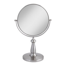 """Lamps Plus - Contemporary Satin Nickel Swivel 8X Magnification Makeup Mirror - Magnified mirror. Satin nickel finish. Dual-sided mirrors offer 8x and 1x magnification. Non-slip base.  Mirror head swivels 360 degrees. Mirror is 7 1/2"""" round. 9 1/2"""" wide. 13 1/2"""" high. 6"""" deep.         Magnified mirror.  Satin nickel finish.  Dual-sided mirrors offer 8x and 1x magnification.  Non-slip base.  Mirror head swivels 360 degrees.  Mirror is 7 1/2"""" round.  9 1/2"""" wide.  13 1/2"""" high.  6"""" deep."""