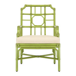 "Selamat - Regeant Kiwi Armchair - Echoing influence from an English garden, the Regeant armchair's trellis pattern mingles stylishly in a modern setting. Simple lines form this smart geometric seat in kiwi green. 23.5""W x 24.5""D x 37""H; Sustainably grown rattan with leather bindings; Hand-stained finish; Upholstered rice fabric with poly fiber fill"
