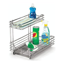 "Home Decorators Collection - 12"" Under Sink Sliding Organizer - Make use of that previously wasted space under your kitchen sink with this outstanding organizer. With two shelves, it has ample room for all of your cleaning supplies, waste bags and other kitchen necessities. Order yours today. Reverse mount allows installation on right or left side of cabinet. Heavy-duty chrome construction will last for years to come. Easy installation. Smooth, full extension glides provide easy access to cabinet contents. Can be mounted on commercial steel shelving with bracket adapters."