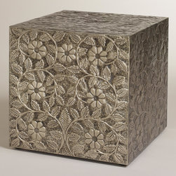 Embossed Damali Metal Cube - I love detailed pieces. The rubbed silver finish on this cube is beautiful.
