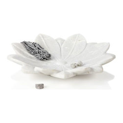 Z Gallerie - Lotus Flower Bowl - Classic and sophisticated, our Lotus Flower makes a stunning display piece for items of your liking.  Hand carved out of pristine white marble, each petal in the Lotus Flower is detailed with a center vein leading out from the flowers apex.  A slight bowl-shaped curve makes our Lotus Flower a perfect complement to smaller decorative items like jewelry and pillar candles. Jewelry shown not included.