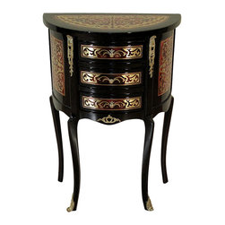 French Black Boulle Demilune Chest Commode Nightstand - This product is finely constructed from top grade solid wood. Artisans use the old world method of tongue and groove and mortise and tenon joinery to create this beautiful and durable piece of furniture. Its superb hand-crafted quality will add a touch of elegance to your home.