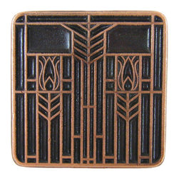 Prairie Tulips Knob in Antique Copper - Prairie Tulips Knob in Antique Copper. Also comes in Antique Brass, Antique Pewter, and Enameled Spring Green or Enameled Evergreen