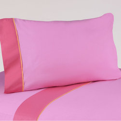 Sweet Jojo Designs - Sweet JoJo Designs 200 Thread Count Butterfly Bedding Collection Cotton Sheet Se - These sheets use solid pink 100-percent cotton fabric with dark pink trim and orange piping. Made to coordinate with the matching Sweet JoJo bedding set, this sheet set is machine washable for easy care.