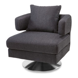 Zuri Furniture - Bora Modern Swivel Fabric Chair - Charcoal - The Bora modern swivel chair is a beautiful addition to your living space with its modern, simple straight-line design, ergonomic arm rests and plush matching pillow. This minimalist piece boasts a brushed chrome swivel base and charcoal tweed nylon blend fabric upholstery. Perfect as an accent chair for home or office. (Available in color shown only).