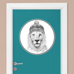 My Wonderful Walls - Lion Wall Sticker - Winter is Coming by Balázs Solti, Large - - Product:  lion in ski cap decal