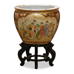 China Furniture and Arts - 16in Hand Painted Satsuma Design Fishbowl - This beautiful fishbowl is made in Satsuma style, which elaborately employs the use of gold. The center scene depicts Japanese courtesans leisurely spending their time in the garden. It gives a plant a decorative place to call a home. Stand sold separately.