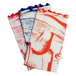 Rhadi Living - Uruli Tea Towels: Mushroom - Set of 3 tea towels. Neon orange, pink and blue. 27x21.
