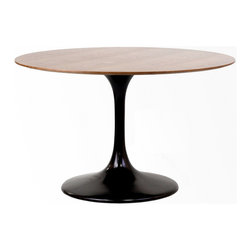 "East End Imports - 48"" Eero Saarinen Style Tulip Table With Walnut Top Black - Achieve the perfect completion of time and grace with the Eero Saarinen Style Tulip Table. Reflect seamlessly as organic shapes and a slender stem-like pedestal glide you to the perfect vantage point. Elevate your surroundings beyond the sharp four-cornered traditional table as you blend divergent perspectives into one centrifugal force par excellence."