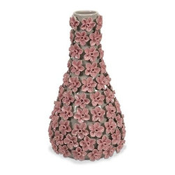 iMax - Grace Small Flower Vase - With intricate ceramic handcrafted flowers delicately laid upon the surface of the Grace small flower vase, the bright pink color has a dimensional texture that looks great in a variety of interiors.
