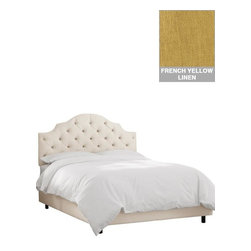 """Home Decorators Collection - Custom Addison Upholstered Bed - Upholstered beds offer an elegant, finished look for your bedroom. With its scalloped profile and diamond-tufted headboard, our Custom Addison Upholstered Bed takes sophistication to the next level. This custom bed is available in a gorgeous range of quality fabrics. Headboard includes diamond tufting. Solid pine frame with metal legs. Includes upholstered bed panels. Fits standard high-profile 9"""" box spring. Includes hardware and instructions. Assembled to order in the USA and delivered in 4-6 weeks. Spot clean only."""