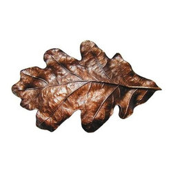 """Inviting Home - Oak Leaf Bin Pull (antique copper) - Hand-cast Oak Leaf Bin Pull in antique copper finish; 4-1/2""""W x 2-3/4""""H; Product Specification: Made in the USA. Fine-art foundry hand-pours and hand finished hardware knobs and pulls using Old World methods. Lifetime guaranteed against flaws in craftsmanship. Exceptional clarity of details and depth of relief. All knobs and pulls are hand cast from solid fine pewter or solid bronze. The term antique refers to special methods of treating metal so there is contrast between relief and recessed areas. Knobs and Pulls are lacquered to protect the finish. Alternate finished are available."""