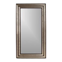 Bassett Mirror - Full-Length Floor Mirror Silver & Merlot Frame - Rectangular shape. Leaning mirror. Decorative mirror. 46 in. L x 84 in. H (85 lbs.)