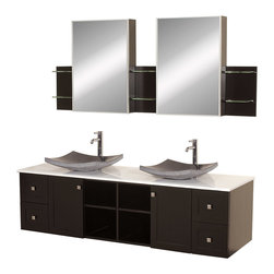 "Wyndham - Avara 72"" Wall-Mounted Double Bathroom Vanity Set - Espresso - Make a statement with the Avara double vanity, and add a twist of the transitional to an otherwise modern classic.; The Avara is the perfect centerpiece to any master bathroom suite, featuring Blum soft close hinges and Blum soft close drawer guides. You'll never hear a door or drawer slam shut again!; Espresso Finish; Counter: White Stone; Includes black granite sink; Includes drain assemblies and P-traps for easy assembly; Includes medicine cabinet mirrors and side shelves; Faucets not included; Dimensions: Vanity 72 x 22-1/4 x 24.5 (including sink); Side Shelves 8-3/4 x 5 x 12; Medic Cab Mirrors 21 x 5-3/4 x 30"