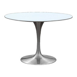 """Lemoderno - Fine Mod Imports  Silverado Dining Table, Silver, 29.5""""hx42""""wx42""""d - The Silverado table is a a white molded fiberglass top, Its silver base is a heavy molded cast aluminum, while the shell is in reinforced molded fiberglass base Material: lacquered light gloss finish    Assembly Required"""