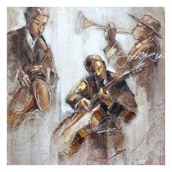 Yosemite Home Decor - Jazz Movement I Art - Jazz lovers be sure to bring your love of this music home. This canvas features a trio of musicians doing what they do best, creating music. The neutral color palette in shades of brown can be easily combined with existing furniture.