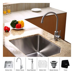 Kraus - Kraus 23 inch Undermount Single Bowl Stainless Steel Kitchen Sink with Kitchen F - *Add an elegant touch to your kitchen with unique Kraus kitchen combo