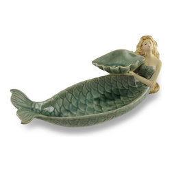 Zeckos - Ceramic Mermaid's Offering Bird Feeder Dish Statue - This fantastical work of art has been expertly sculpted from ceramic and beautifully hand-painted and glazed in oceanic hues to provide your feathered friends a place to dine This 12.5 inch (32 cm) long, 5.25 inch (13 cm) high, 5 inch (13 cm) wide mermaid offers up a seashell for birds to dine, play or bathe, and has foam pads on the bottom to help protect display surfaces. Beautifully detailed from her scales to long flowing hair, this bird feeder is sure to make your garden or patio come to life