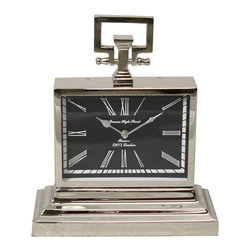 ecWorld - Barnes High Street Classic Square Nickel Table Clock - Crafted with fine detailing and an attractive contemporary design this clock is ideal for modern classy settings.  Sports a unique square shape that includes a three tier sturdy base, a black background with white Roman numerals and a gorgeous nickel plating that uplifts any home decor.  Compact yet elegant perfect for adding style to your table, mantle, office or study.