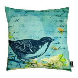 Lava - Bird Blue 18 x 18 Pillow (Indoor/Outdoor) - 100% polyester cover and fill. Suitable for use indoors or out. Made in USA. Spot clean only