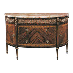 """Inviting Home - French Style Inlaid Chest - Three drawer French style chest with two curved side doors palissander veneer pear and maple inlay antiqued brass trim and pink Breccia marble top; 57-1/4""""W x 20-3/4""""D x 35-1/2""""H hand-made in Italy Hand-crafted French style inlaid three drawer chest with two curved side doors. French style chest features palissander veneer inlaid with pear and maple wood. This French chest has antiqued brass trim and pink Breccia marble top. This inlaid chest is hand-made in Italy."""