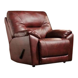 """Southern Motion - Southern Motion - Dynamo Rocker Recliner - This silhouette offers a more contemporary look while beefy enough to appeal to the masses. Fresh, angled French seaming used on the backs and seat pad give a unique flow to a classic frame, adding special attention to detail. Exposed top edges of the arm stumps add an extra """"Pop"""" to the oversized arms. The padded top arms add extra comfort while lying down as well. Great value offered with new design and comfort from Southern Motion."""
