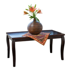 Great Deal Furniture - Stanford Mahogany Wood Coffee Table, Red - The Stanford coffee table is an elegant piece that is perfect for the traditional home. Built from mahogany stained hardwood, it stands on curved contemporary legs for a classic touch. This piece is perfect for your living room, family room or office.