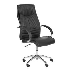 Safavieh Martell Desk Chair - Black - The Safavieh Martell Desk Chair - Black has your back in the best possible way. Extra-comfy for those extra-long hours at your desk, this chair makes the paperwork a lot more palatable. The combination leather/PVC upholstery comes in classic black, and the metal frame has a high-shine finish. You'll appreciate the adjustable height and rubber wheels, too, not to mention the versatile modern style.About SafaviehSafavieh is a leading manufacturer and importer of fine rugs. Established in 1914 in the capital of Persian weaving masters, the company today brings three generations of knowledge and experience to its award-winning collections. In the United States since 1978, Safavieh has been a pioneer in the creation of high-quality hand-made rugs, a trend that revolutionized the rug business in America. Its collections range from the finest antique and historical reproductions to the most fashion-forward contemporary and designer rugs.