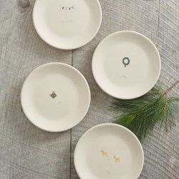 Beth Mueller - Beth Mueller Holiday Mugs Set of Four - Hand-thrown in Vermont, this creamy white earthenware pottery brightens winter months with sweet, simple artwork. Each piece features a hand-painted festive motif and handwritten caption. The platter and three-section tray feature all three motifs. Lead-free glaze. Choose from plates, mugs, a platter, and a three-section tray. Mix and match to create a charming vignette. Made in USA. By Beth Mueller.